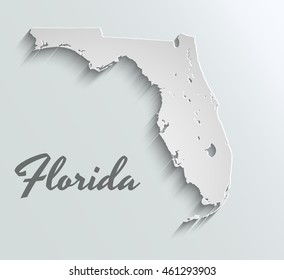 Map of Florida . Abstract vector paper map