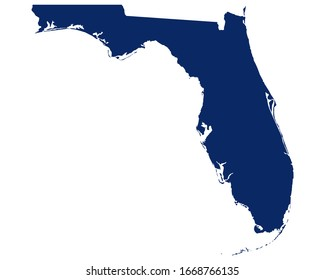 Map of Florida in blue colour
