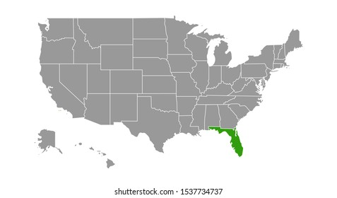 map of Florida. Vector illustration.