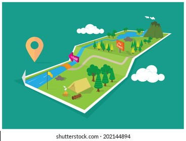 Map Forest and Camping Navigation - 3D concept