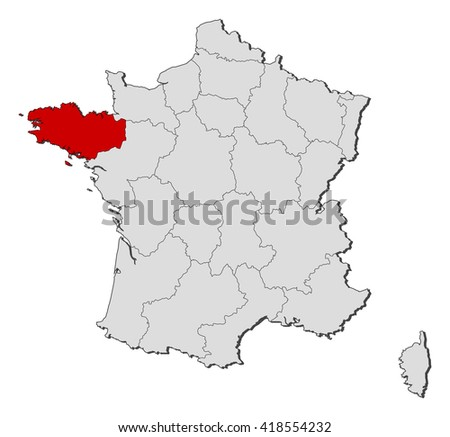 Brittany On Map Of France.Map France Brittany Stock Vector Royalty Free 418554232 Shutterstock