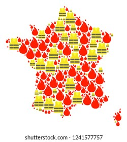 Map of France collage composed for Gilet Jaunes Protest illustrations. Vector abstract collage of map of France with yellow vest against fuel price rising. Flat design for patriotic posters.