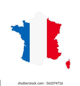 Map of France in color of National Flag. Silhouette of Country isolated on white background.