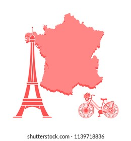 Map of France, famous tower of Paris, bicycle with a basket of flowers. Travel and leisure.