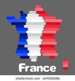 map of france and flag simple drawing. flat style stock illustration