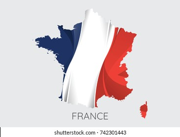 Map Of France With Flag As Texture Isolated On Grey Background. Vector Illustration