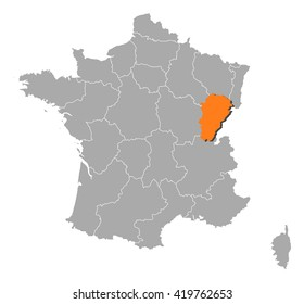 Map - France, Franche-Comte