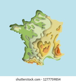 Map of France. Imitation of the texture paper cut, origami. geographical features, plain and mountains. vector