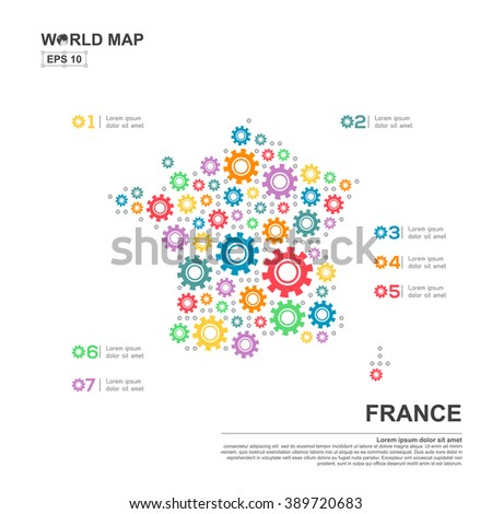 France map infographics design elements business stock vector.