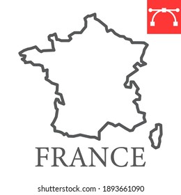 Map of France line icon, country and geography, france map sign vector graphics, editable stroke linear icon, eps 10