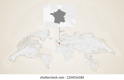 Map of France with neighbor countries pinned on world map. Abstract triangles World Map.