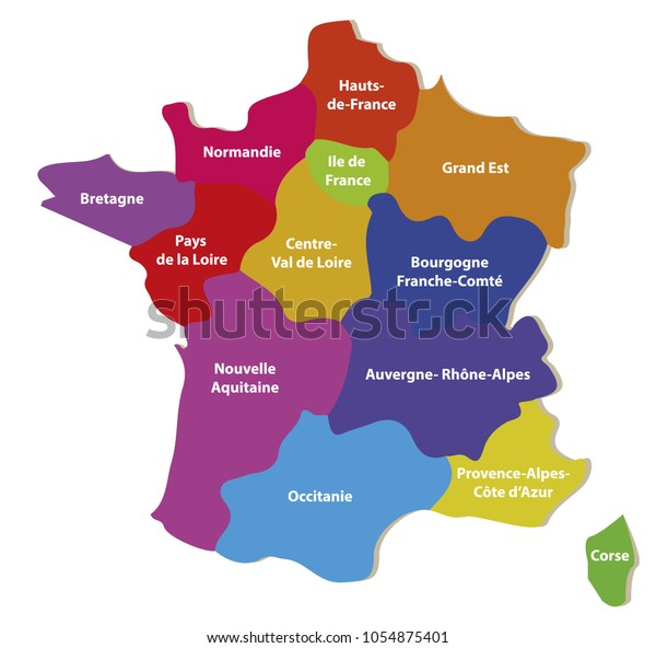Detailed Map Of France Regions.Map France Regions Stock Vector Royalty Free 1054875401