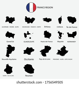 Map of France regions graphic element Illustration template design