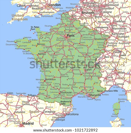Map Of France In English.Map France Shows Country Borders Urban Stock Vector Royalty Free