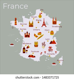 Map of France vector illustration. Icons with french landmarks, food, wine, animal and plantes.