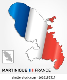 Map of french overseas region Martinique combined with waving french national flag - Vector