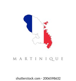 Map of french overseas region Martinique combined with french national flag.