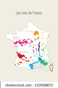 Map with French wine regions in French language, Les vins de France. France and its wine regions like Bordeaux, Loire, Champagne, Sauvignon. France contour