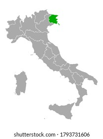 Map of Friuli-Venezia Giulia in Italy on white