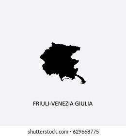 Map of Friuli-Venezia Giulia - Italy Vector Illustration
