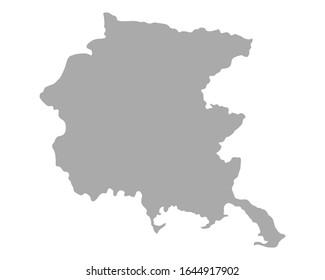 Map of Friuli-Venezia Giulia as vector illustration