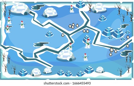 Map Frozen Snow Freeze Landscape Theme with Cracks, Penguins, snow house, snowman and ice blocks for Vector Illustration Design Ideas
