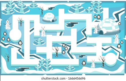 Map Frozen Snow Freeze Theme with Path and Penguins, snow house, snowman and ice blocks for 2D Game Platformer Vector Illustration