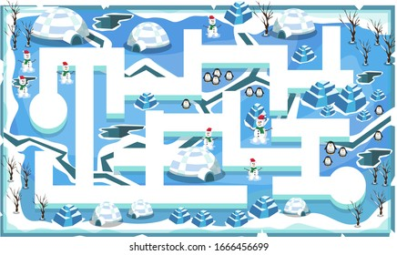 Map Frozen Snow Freeze Theme with Path and Cracks, Penguins, snow house, snowman and ice blocks for 2D Game Platformer Vector Illustration