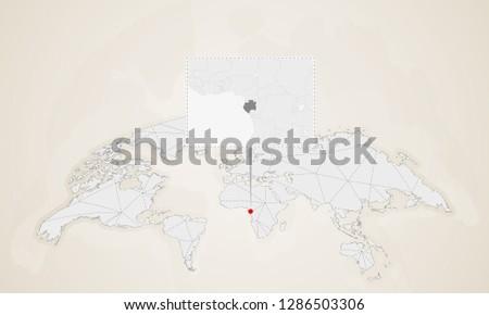 Gabon World Map.Map Gabon Neighbor Countries Pinned On Stock Vector Royalty Free
