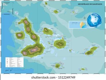 Map of Galapagos Islands, Ecuador