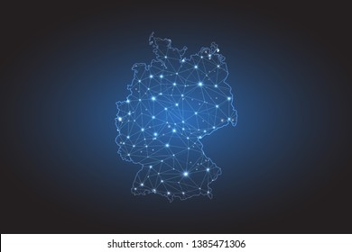 Map of Germany - Abstract mash line and point scales on circuit dark background. Wire frame 3D mesh polygonal network line, design sphere, dot and structure. Vector illustration eps 10.