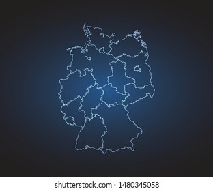 Map of Germany - Abstract mash line and point scales on circuit dark background. symbol for your web site design map logo, app, ui,Travel. Vector illustration eps 10.