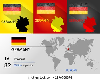 map of Germany background Earth map,Population,province on Vector illustration eps 10.Triangle flag Vector