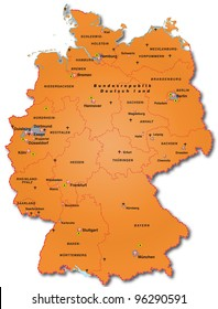 Map of Germany with capitals in orange