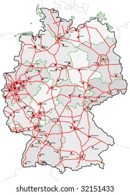 map of germany with cities country and the autobahn