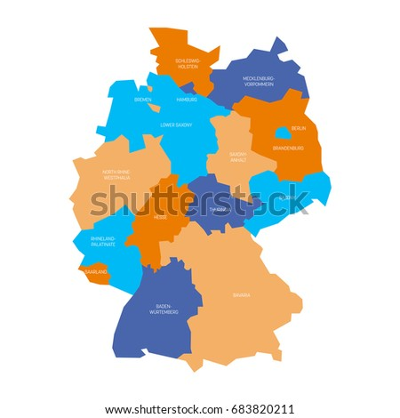 Germany Map With States.Map Germany Devided 13 Federal States Stock Vector Royalty Free