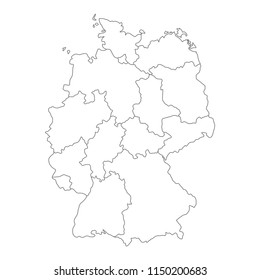 Map of Germany divided to federal states and city-states. Simple flat blank white vector map with black outlines.