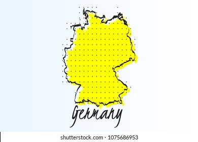 Map of Germany, halftone abstract background. The black dots on a yellow background. drawn border line. vector illustration