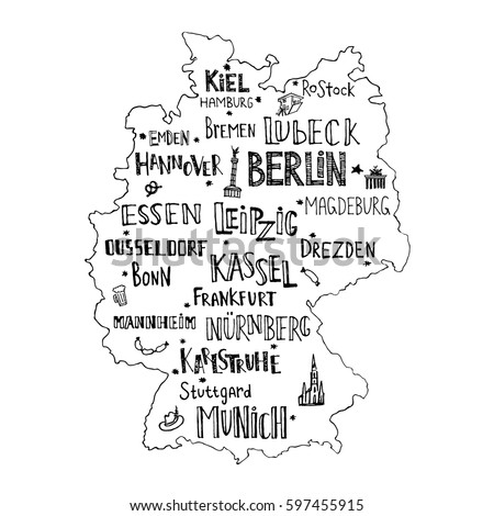 Map Of Germany Major Cities.Map Germany Hand Drawn Lettering Main Stock Vector Royalty Free