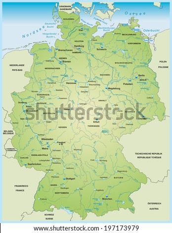 Map Of Germany With Rivers.Map Germany Lakes Rivers Stock Vector Royalty Free 197173979
