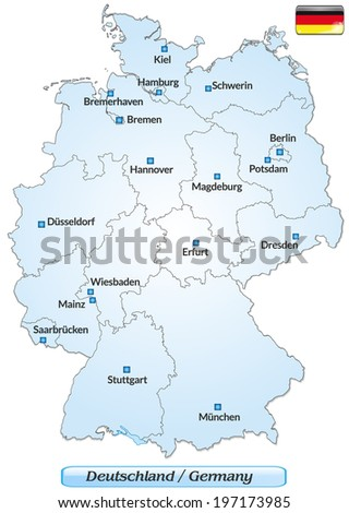 Map Of Germany Major Cities.Map Germany Main Cities Blue Stock Vector Royalty Free 197173985