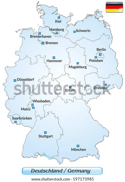 Map Of Germany Showing Cities.Map Germany Main Cities Blue Stock Vector Royalty Free 197173985