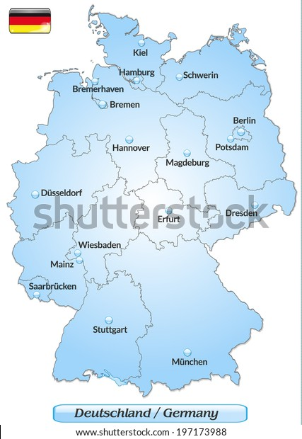 Map Of Germany Major Cities.Map Germany Main Cities Blue Stock Vector Royalty Free 197173988