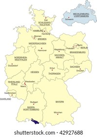Map of Germany, national boundaries and national capitals; Mecklenburg-Western Pomerania cut out and silhouetted