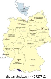 Map of Germany, national boundaries and national capitals; Schleswig-Holstein cut out and silhouetted