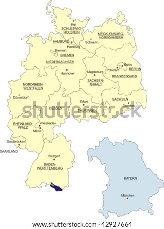 Map Germany National Boundaries National Capitals Stock Vector