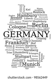 Map of Germany - outline made of city names. German concept.