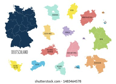 Map of Germany with separated landers with labels. Vector, colorful hand drawn style.