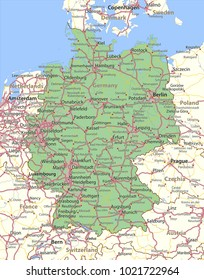 Map of Germany. Shows country borders, urban areas, place names and roads. Labels in English where possible.Projection: Mercator.