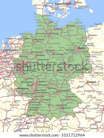 Map Germany Shows Country Borders Urban Stock Vector Royalty Free